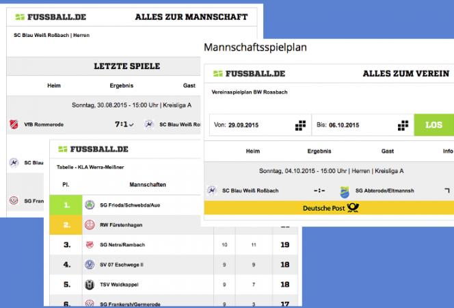 Aktualisierung: Spielplan, Begegnungen & Tabelle